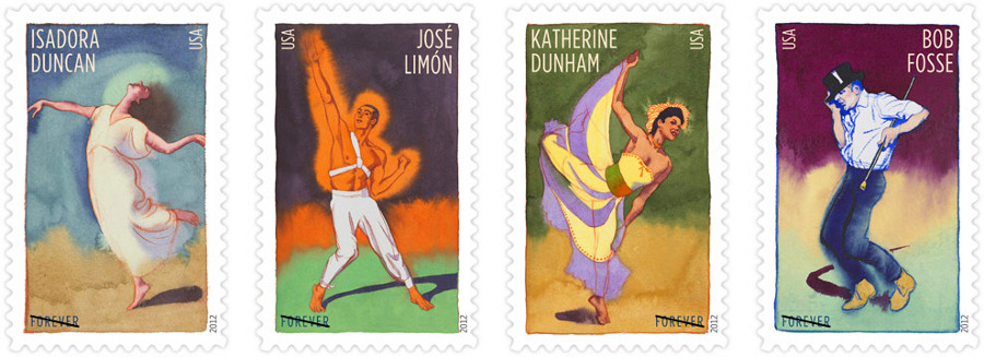 Go postal use choreographer commemorative stamps arts meme Which side does a stamp go on