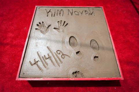 Kim Novak's hand and footprints at the Chinese Theatre