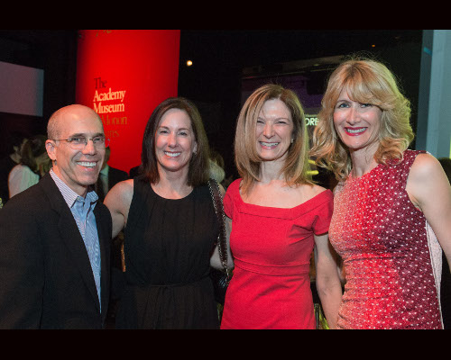 Jeffrey Katzenberg (left), Academy Governor Kathleen Kennedy (left center), Academy CEO Dawn Hudson (right center) and Laura Dern during the inaugur on Thursday, April 11, 2013 at the