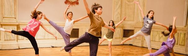 "The boy in the front a real dancer in Cristina Rizzo's ""Bolero,"" set to Ravel and staged in magnificent former palace hall of Ca Giustinian"