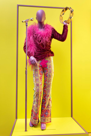 Janis Joplin outfit, microphone, tambourine