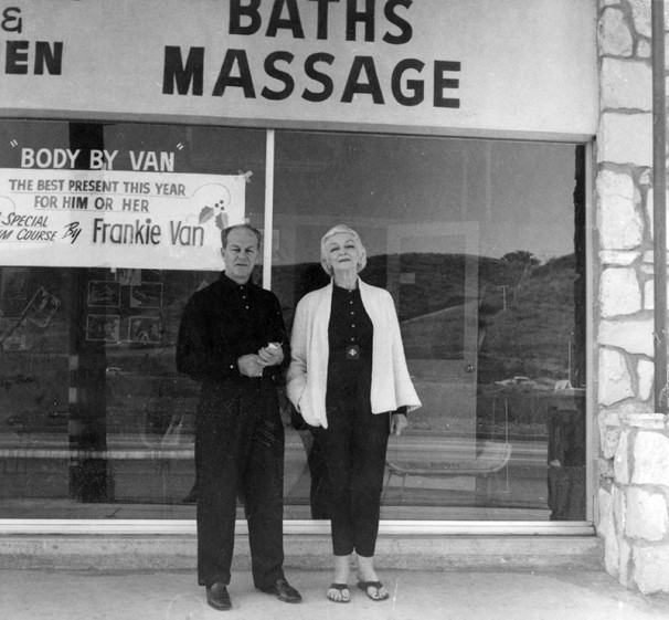 Pictured are Frankie Van, owner of Frankie Van's Health Club, 3717 N. Cahuenga Blvd., Studio City, along with famous modern dancer Ruth St. Denis. Ms. Denis once lived in the Valley and operated a school in the Cahuenga Pass. Photograph dated January 31, 1962.